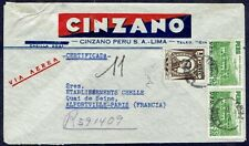 022 Peru To France Registered Air Mail Cover 1951 Alcohol Cinzano To Alfortville