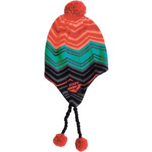 FXR MISCHIEF TOQUE CAP HAT WITH POMS -Black/ElecTangerine/Aqua - One Size - NEW