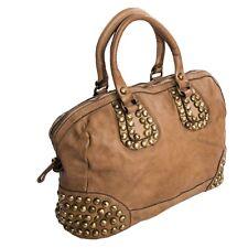 959cbeddd462c Ital edle Vintage Ledertasche Bowling Tote Bag Damentasche echt Leder Taupe  906T
