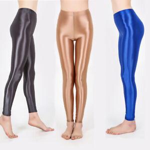 Women Satin Glossy Yoga Leggings Oily Gloss Shiny Ballet Dance Jeggings Gym Pant