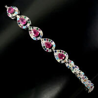 Pear Red Ruby 4x3mm Cubic Zirconia White Gold Plate 925 Sterling Silver Bracelet