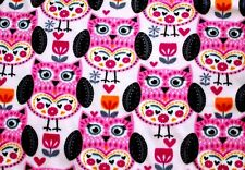 """LARGE 7"""" PINK DECORATED FOLKSTER OWLS FLEECE FABRIC MATERIAL 2 YDS 60 X 72"""""""