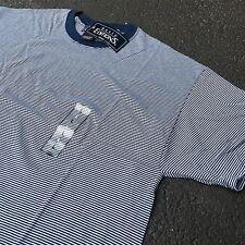90s VTG NWT Striped GRUNGE Ringer T Shirt SURF Navy Blue L White Soft THIN 50/50