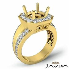 Diamond Engagement Ring 14k Yellow Gold 0.66Ct Halo Pave Set Round Semi Mount