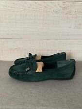 ALEX MARIE Women's Slip On Driving Moccasin Shoes Suede Green Size 8 1/2