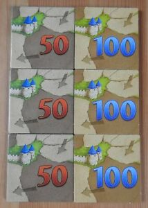 Carcassonne - 6 Extra Scoring Tiles | 50/100 | Counting Tiles | Accessory | New