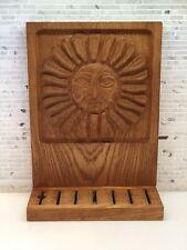 ERA Industries Evelyn Ackerman Carved Wood Panel Knife Block Sun Mid Century