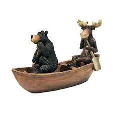 MOOSE & BLACK BEAR IN A BOAT STATUE DESIGN TOSCANO moose black bear in a boat