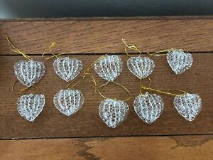 Spun Glass Heart Christmas Ornaments - Home Decor - 10 Pieces
