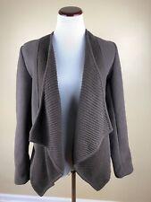 NWT Susan Bristol Fleece and Knit Brown Open Cardigan Cozy Layer Size Medium