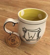 """New listing Molly Hatch For Anthropologie Initial """"W� Coffee Mug with Polka Dot Interior"""