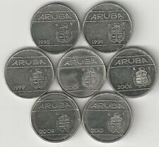 7 - 10 CENT COINS from ARUBA (1995, 1998, 1999, 2001, 2008, 2009 & 2013)