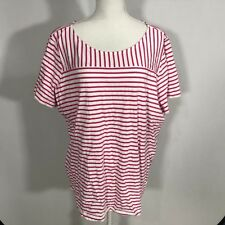 Basic Editions Women Short Sleeve Blouse Top Shirt Size 3X Pink Stripes - C146