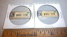 1967 Washington DC #290 112, columbia, pair of DAV Mini License Plate keychain