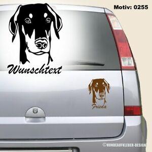 Dobermann Autoaufkleber mit Wunschtext / Hundename 15cm Hundeaufkleber Motive