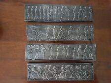 4 Miniature freieze Antique Italian Roman plaster Pictorial Sculpture Plaques