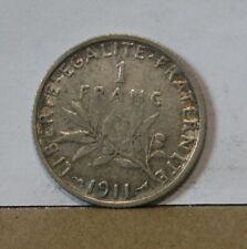 Monnaie argent 1 franc 1911 semeuse de roty
