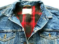 *HOT Vtg Men LEVI'S 70427 FLANNEL PLAID LINED 527 BLANKET Denim JACKET Jeans XXL