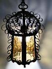 Vintage Gothic Pendant Hanging Light Spanish Revival Boho Iron Amber Glass Black