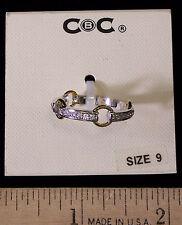 Jewelry New Macys CBC Ring Silvertone and Goldtone With Rhinestones Size 9
