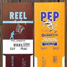10 Original REEL PEP TOBACCO Pipe Cigarette Smoking Labels 1930s FISHING NOS