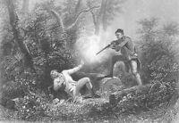AMERICAN REVOLUTION BROTHERS FIGHT WYOMING MASSACRE ~ 1839 Art Print Engraving