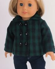 "Green Black Wool Coat Jacket for 18"" American Girl Doll You FOUND Lovvbugg! Yay!"