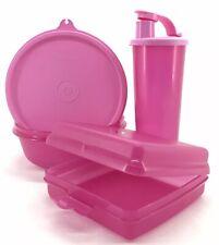 Tupperware Lunch Set 3 Piece Tumbler + Bowl + Sandwich Keeper Pink New