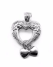 925 Sterling Silver Hawaiian Three Heart Plumeria Engraved Pendant Dangle Hearts