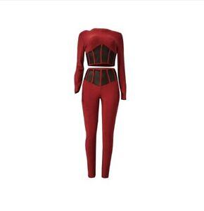 NEW Women Chic Shimmer Corset Pants +Hollow Out Crop Top Clubwear 2PC Set #JM