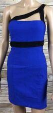 MYSTIC Cut Out One Shoulder Sheath Dress Blue With Black Trim Stretch Rayon Sz L