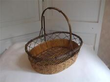 "Oval Bamboo Woven Basket with Metal Handle Light Brown Color 12"" T"