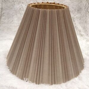 "19"" x 12"" BEIGE vintage  STIFFEL Style PLEATED ACCORDION LAMP SHADE Tan fabric"