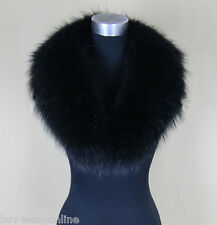 "Black Real Raccoon Fur Collar scarf wrap shawl winter neck warmer 31.5"" 80cm US"