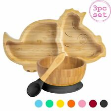 Children's Bamboo Dinosaur Plate, Bowl, Spoon & Suction Cups Eco-friendly Black