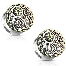 - Antique Ying Yang Steampunk Geared Surgical Steel Double Flared Ear Tunnels