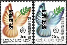 Cape Verde Cabo Verde 1986 International Day of Peace SPECIMEN, 2 stamp MNH