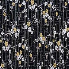 Klebefolie schwarz mit Blumen Möbelfolie Dekor Oriental Blasson   45 cm x 200 cm