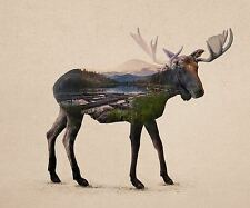 UNIQUE HIPSTER GIFT THE ALASKAN BULL MOOSE ART PRINT nature forest 12x10 poster