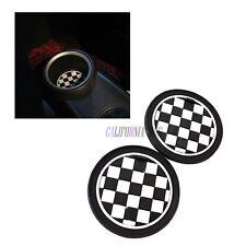 A Pair Checkered Board CAR Cup Mat Cup For Mini Cooper JCW R55 R56 R57 R58 R59