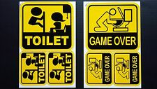6 pc Game over toilet & Funny toilet sign wall entrance Decal Stickers Sheet