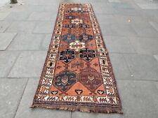Vintage Hand Made Traditional Oriental Wool Orange Long Rug Runner 353x110cm