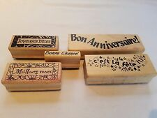 Lot of Magenta French Language Words Phrases Sayings Wood Mounted Rubber Stamps