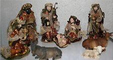 Krippenfiguren 9-teilig 4 -16 cm hoch mit Textilkleidung Weihnachten Krippe