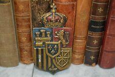 Vintage English Metal Crest Crown Shield Plaque Rampant Lion Castle Fleur de Lis