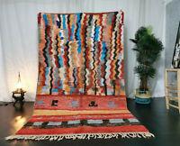 Boujaad Moroccan White Handmade Rug 5'3x8'9 Berber Patchwork Tribal Wool Carpet