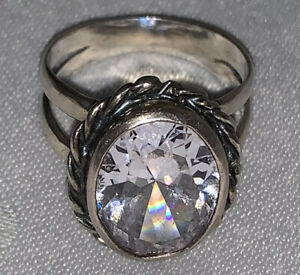 Sterling Silver White Topaz Ring Made In Israel