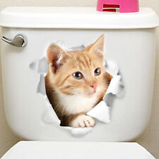 Vinyl Decal cute 3D Cat Bedroom Toilet Restroom Refrigerator Wall Sticker yellow
