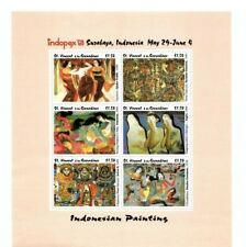 Saint Vincent 1993 - Indonesian Painting - Indopex Sheet of 6 Stamps MNH