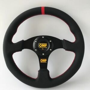 330mm  Red Stitch Red Strip Flat Steering Wheel For OMP MOM ND Drift Rally #001